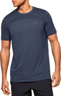 Under Armour Rush Seamless Mens Training Top Pink Short Sleeve Workout T-Shirt