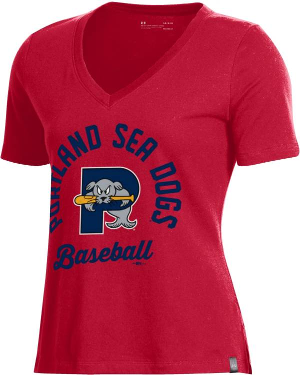 Under Armour Women's Portland Sea Dogs Red V-Neck Performance T-Shirt product image