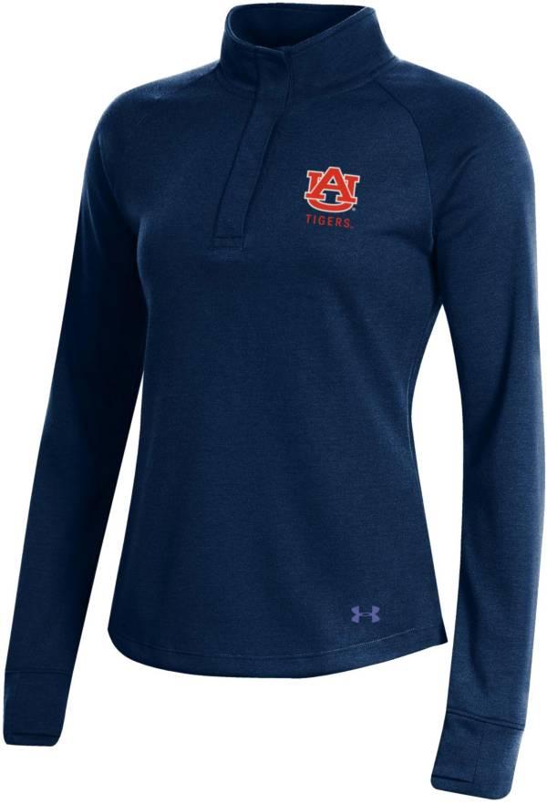 Under Armour Women's Auburn Tigers Blue Double Knit Quarter-Snap Shirt product image