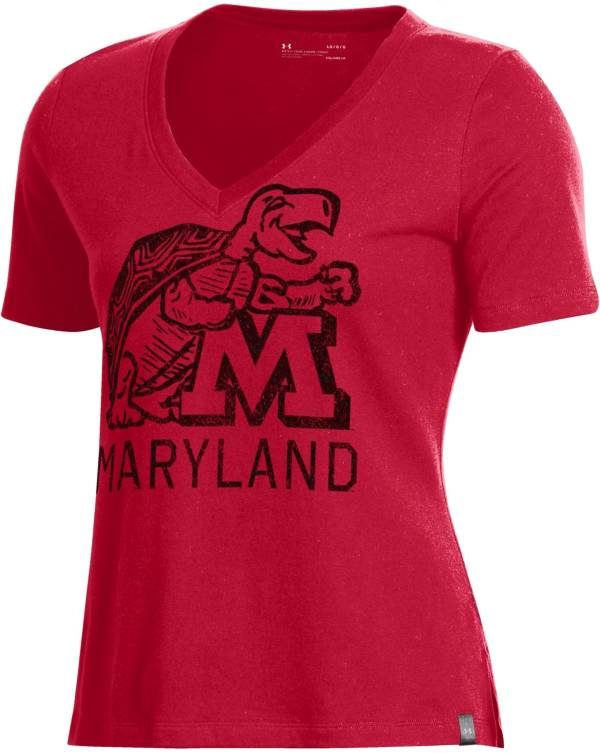 Under Armour Women's Maryland Terrapins Red Performance V-Neck T-Shirt product image