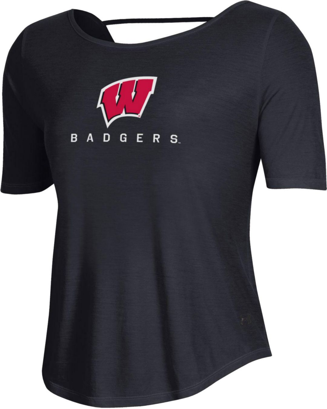1f38fae4 Under Armour Women's Wisconsin Badgers Lux Short Sleeve Performance Black  T-Shirt