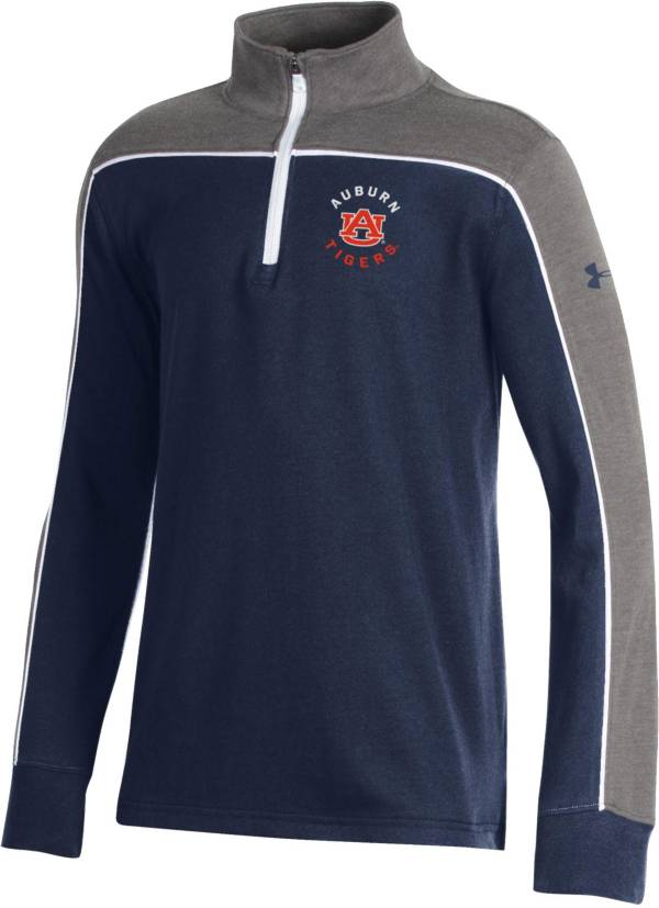 Under Armour Youth Auburn Tigers Blue Tri-Color Charged Cotton Quarter-Zip Shirt product image