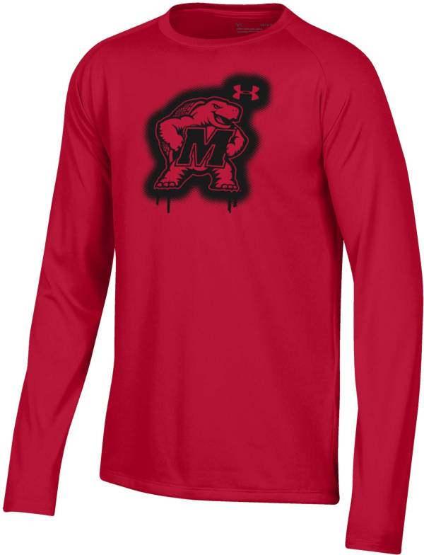 Under Armour Youth Maryland Terrapins Red Tech Performance Long Sleeve T-Shirt product image