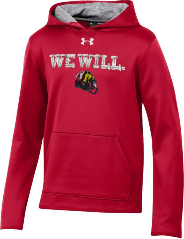 Under Armour Youth Maryland Terrapins Red 'We Will' Armourfleece Performance Football Hoodie product image