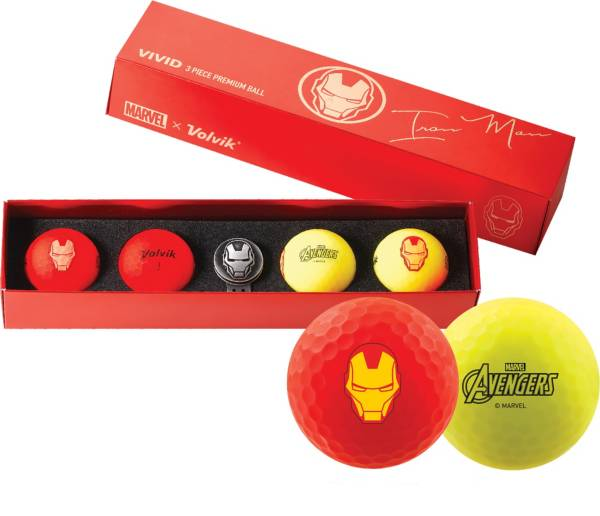 Volvik VIVID Matte Marvel Iron Man Edition Golf Balls + Hat Clip Set – 4 Pack product image