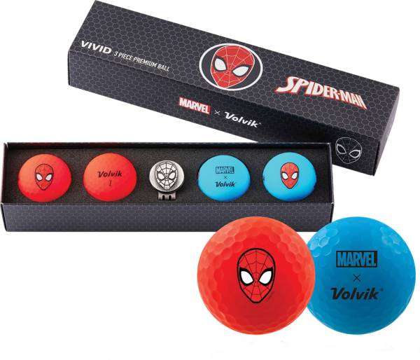 Volvik VIVID Matte Marvel Spider-Man Edition Golf Balls + Hat Clip Set – 4 Pack product image