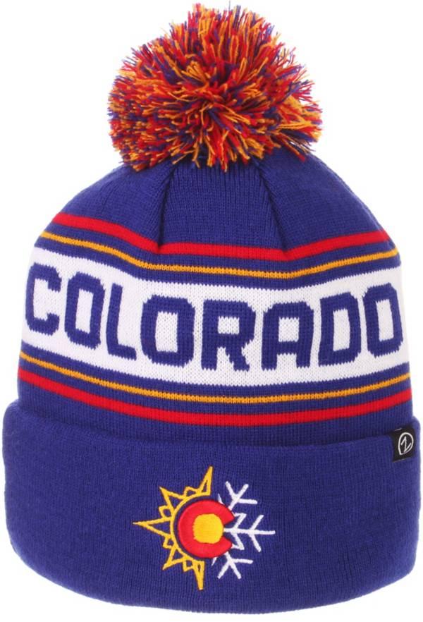 Zephyr Men's Colorado Buffaloes Blue Finish Line Pom Knit Beanie product image