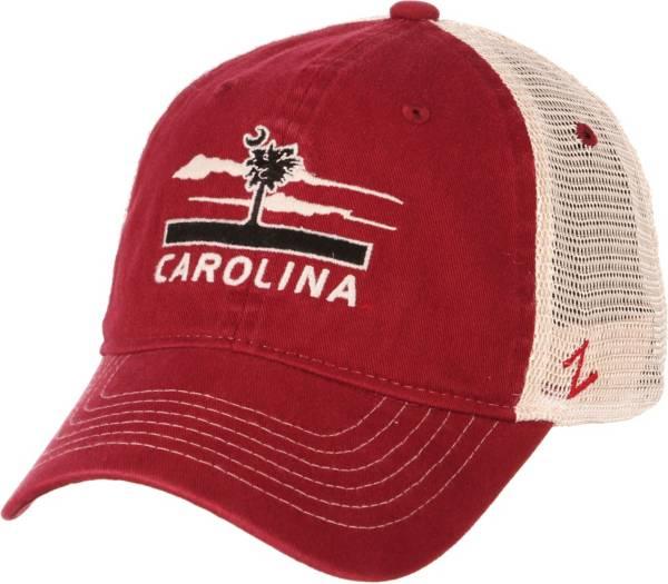 Zephyr Men's South Carolina Gamecocks Garnet/White Adjustable Trucker Hat product image