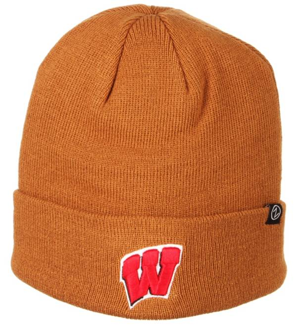 Zephyr Men's Wisconsin Badgers Brown Cuffed Knit Beanie product image