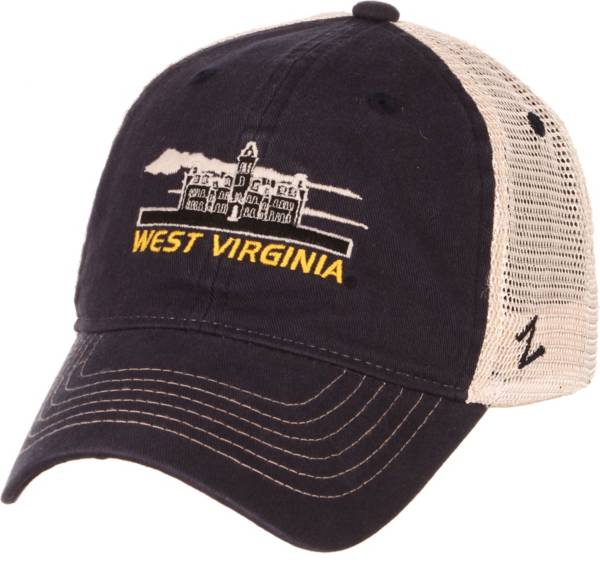 Zephyr Men's West Virginia Mountaineers Blue/White Adjustable Trucker Hat product image