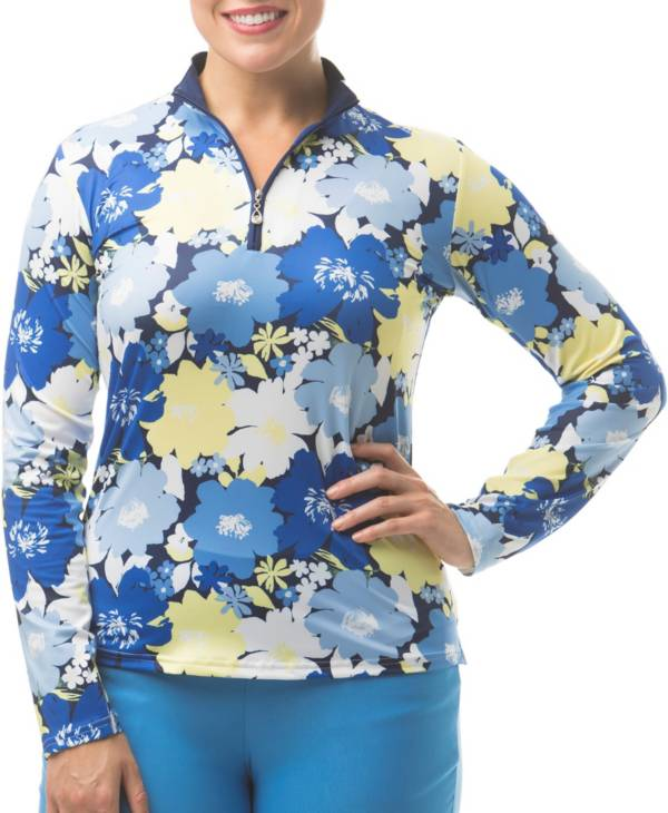SanSoleil Women's SolCool Floral ¼ Zip Golf Pullover product image