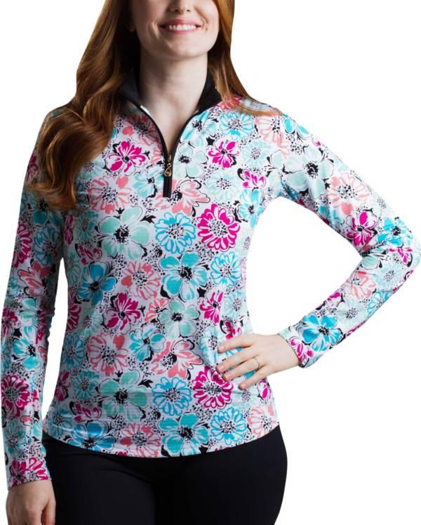 SanSoleil Women's SolTek ICE Floral ¼-Zip Golf Pullover product image