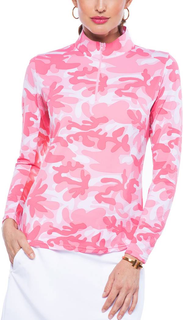 IBKUL Women's Camo Print Mock Neck Golf Pullover product image