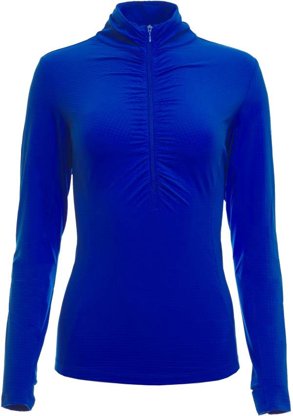 IBKUL Women's Long Sleeve Ruched Mock Neck Golf Polo product image