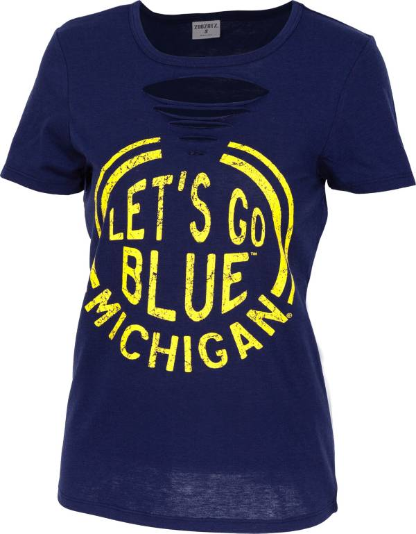 ZooZatz Women's Michigan Wolverines Blue Revival Ripped T-Shirt product image