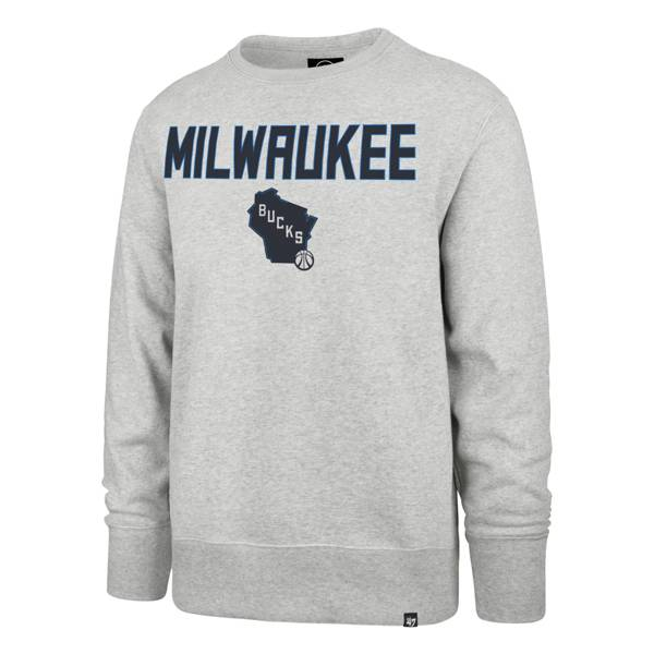 '47 Men's 2020-21 City Edition Milwaukee Bucks Grey Headline Crewneck product image