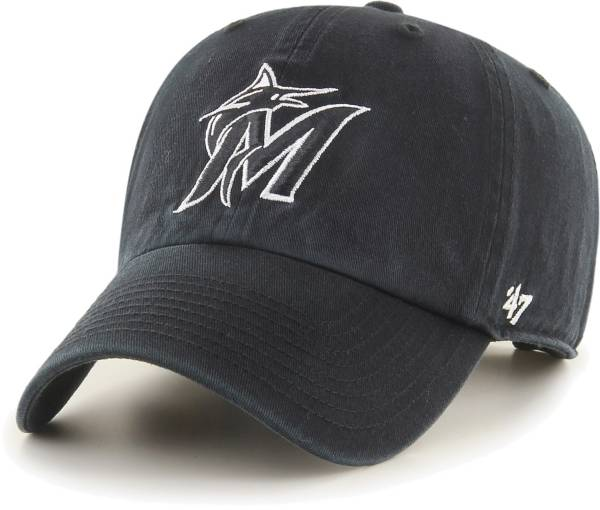 '47 Men's Miami Marlins Black Clean Up Adjustable Hat product image