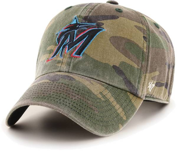 '47 Men's Miami Marlins Camo Clean Up Adjustable Hat product image