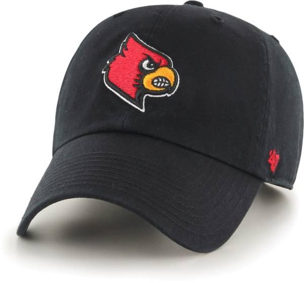 '47 Men's Louisville Cardinals Clean Up Adjustable Black Hat product image