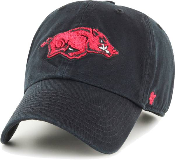 '47 Men's Arkansas Razorbacks Clean Up Adjustable Black Hat product image