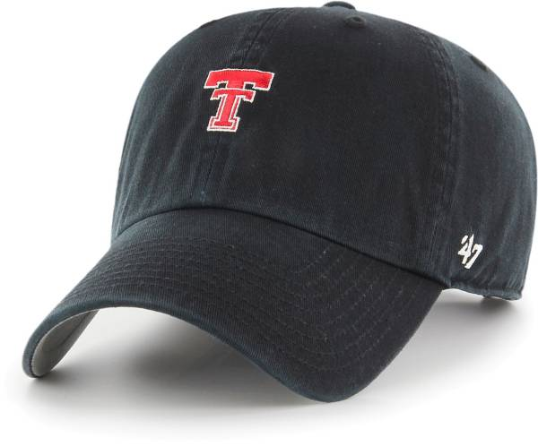 '47 Men's Texas Tech Red Raiders Base Runner Clean Up Adjustable Black Hat product image
