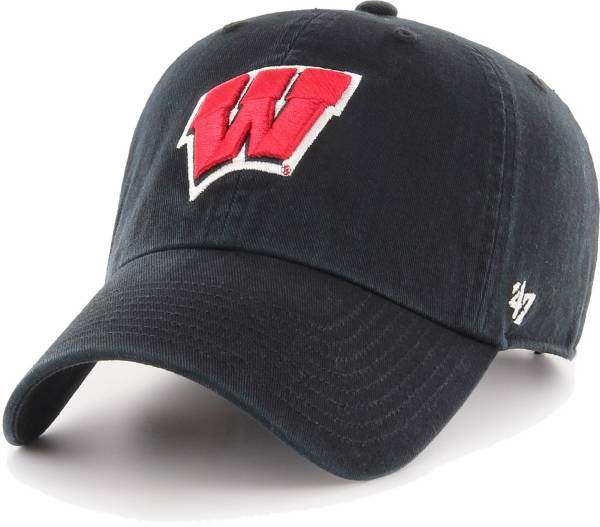 '47 Men's Wisconsin Badgers Clean Up Adjustable Black Hat product image