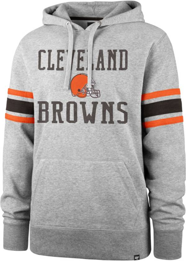 '47 Men's Cleveland Browns Double Sleeve-Stripe Grey Hoodie product image