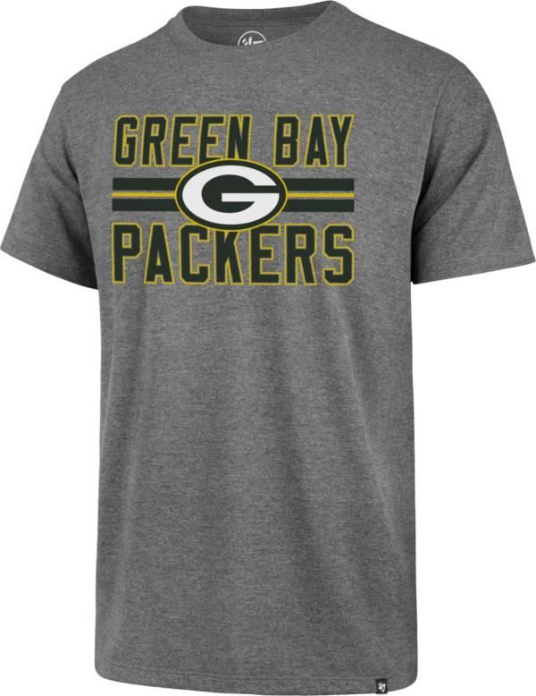 '47 Men's Green Bay Packers Block Stripe Grey T-Shirt product image