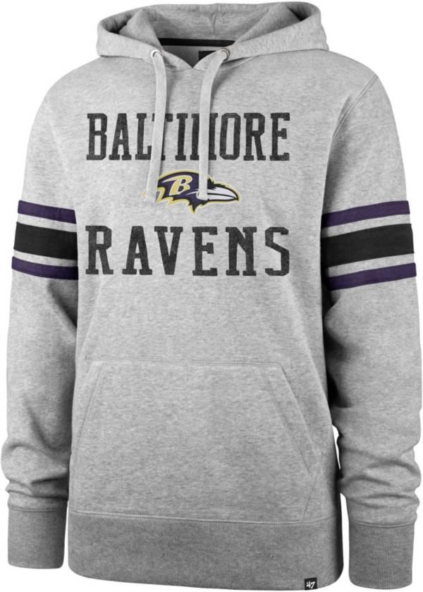 '47 Men's Baltimore Ravens Double Sleeve-Stripe Grey Hoodie product image