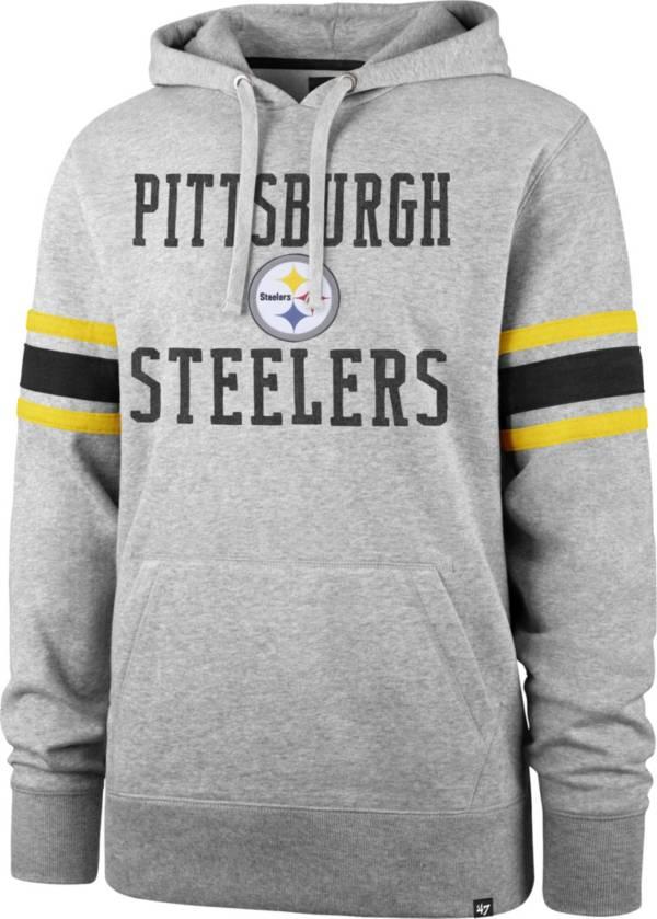 '47 Men's Pittsburgh Steelers Double Sleeve-Stripe Grey Hoodie product image