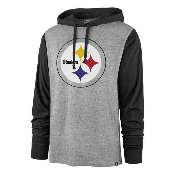 '47 Men's Pittsburgh Steelers Heather Grey/Black Logo Pullover Hoodie product image
