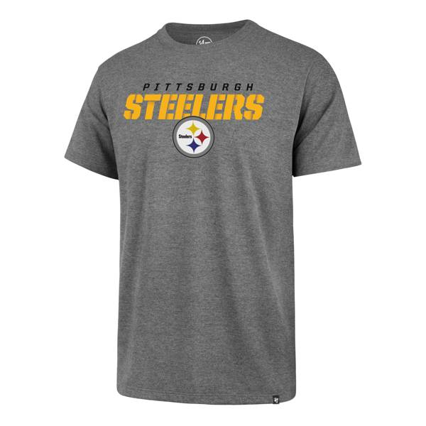 '47 Men's Pittsburgh Steelers Traction Rival Heather Grey T-Shirt product image