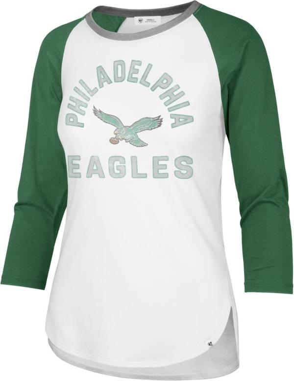 '47 Women's Philadelphia Eagles White Wash Raglan Three-Quarter Sleeve T-Shirt product image