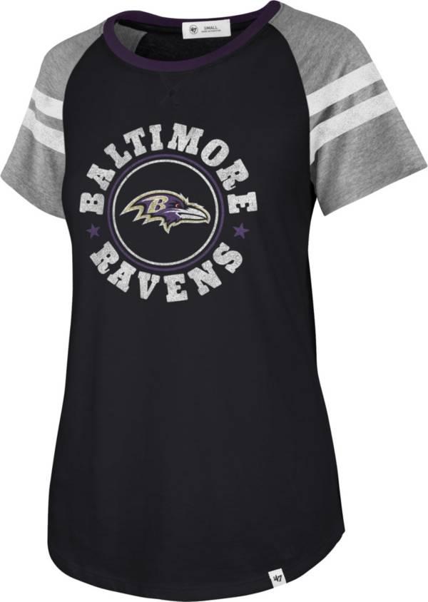 '47 Women's Baltimore Ravens Static Black Raglan T-Shirt product image
