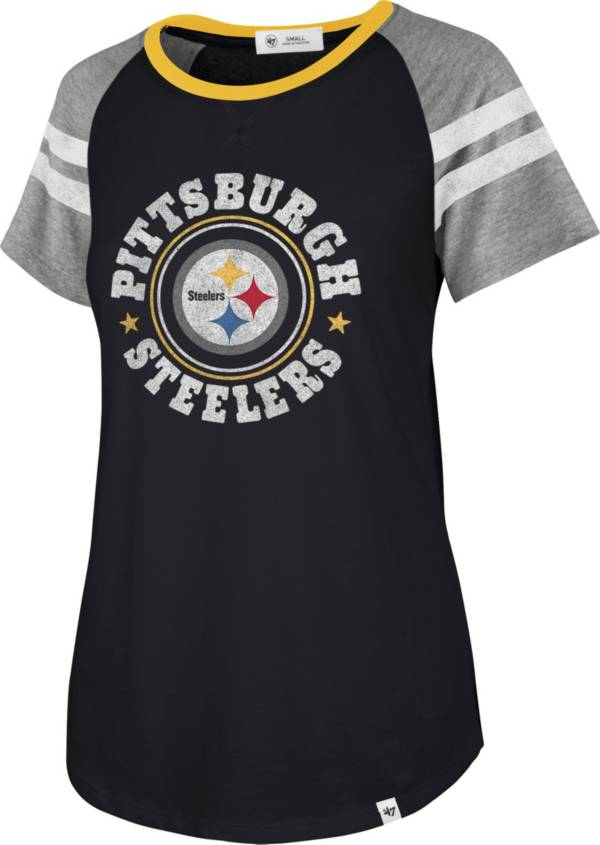 '47 Women's Pittsburgh Steelers Static Black Raglan T-Shirt product image