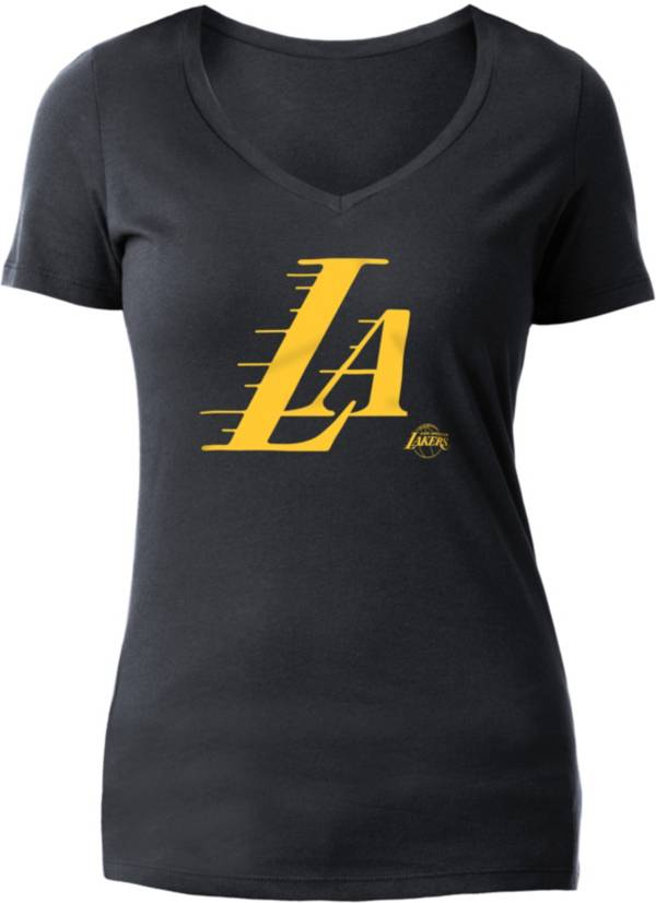 5th & Ocean Women's Los Angeles Lakers Wordmark Black V-Neck T-Shirt product image