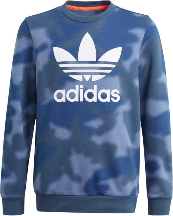 adidas Boys' Blue Camo Crewneck Pullover product image