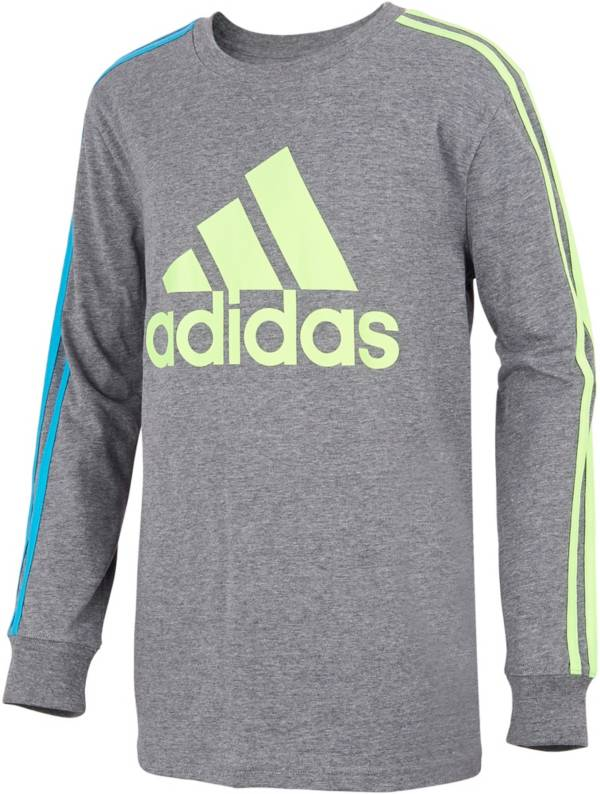 adidas Boys' Badge Of Sport 3-Stripes Long Sleeve Shirt product image