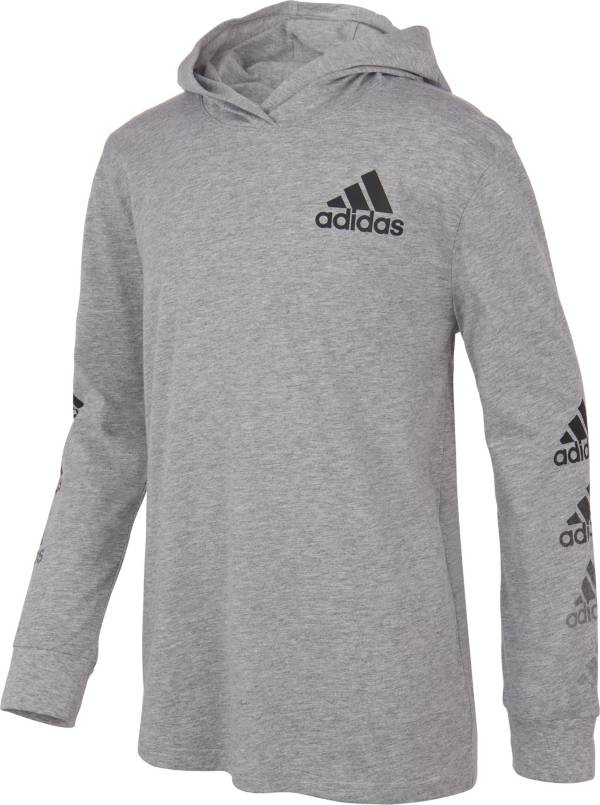 adidas Boys' Vertical Badge of Sport Hooded Heather Long Sleeve T-Shirt product image