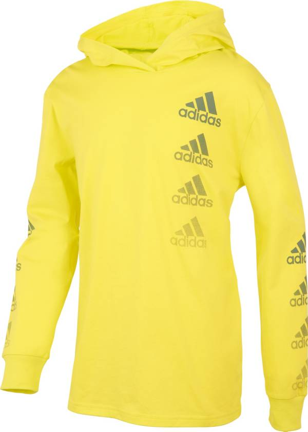 adidas Boys' Vertical Badge of Sport Hooded Long Sleeve T-Shirt product image