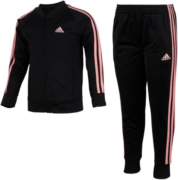 adidas Little Girls' Zip Front Classic Tricot Jacket and Jogger Pants Set product image