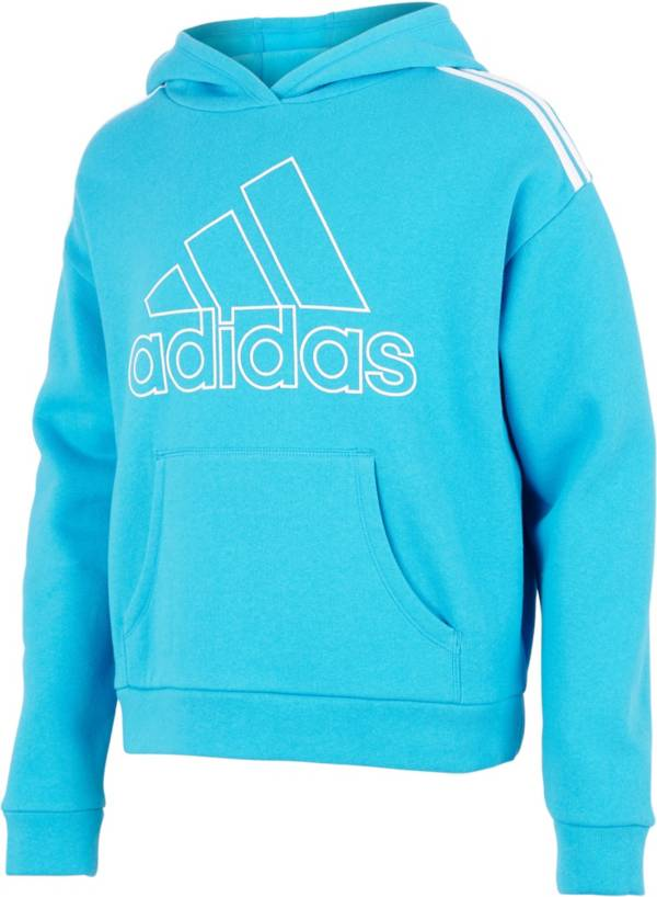 adidas Girls' Classic Stripe Cotton Fleece Pullover Hoodie product image