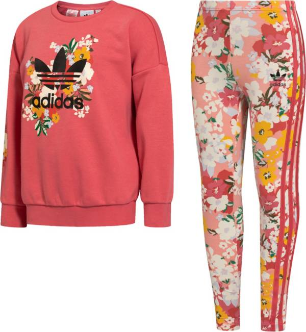 adidas Girls' Floral Crewneck Sweatshirt and Leggings 2-Piece Set product image