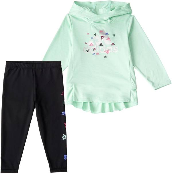 adidas Girls' Long Sleeve Hooded Top and Graphic Tights Set product image