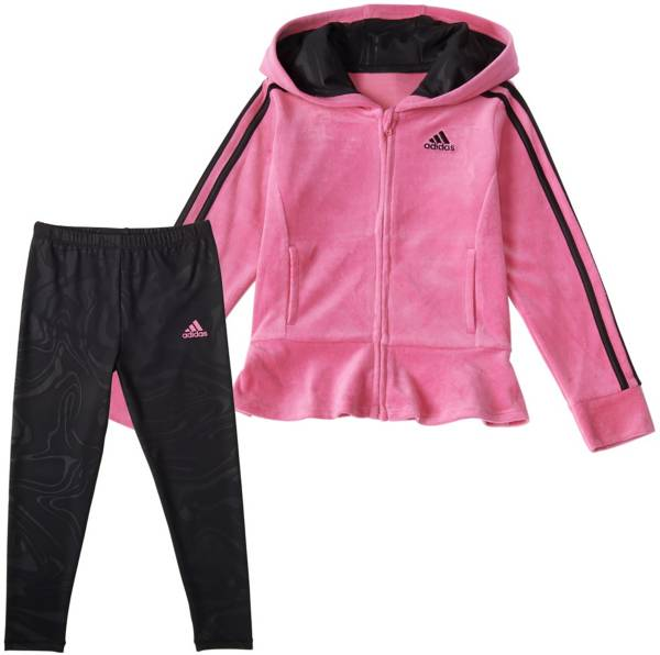 adidas Toddler Girls' Velour Hooded Jacket and Marble Tights Set product image