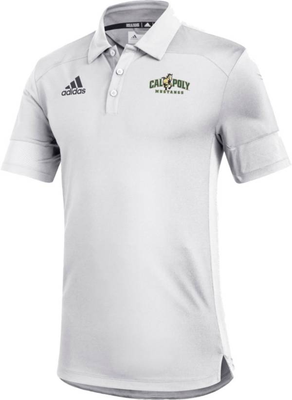 adidas Men's Cal Poly Mustangs Under the Lights Coaches Sideline White Polo product image