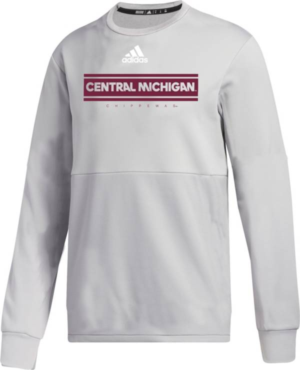 adidas Men's Central Michigan Chippewas Grey  Team Issue Crew Pullover Shirt product image