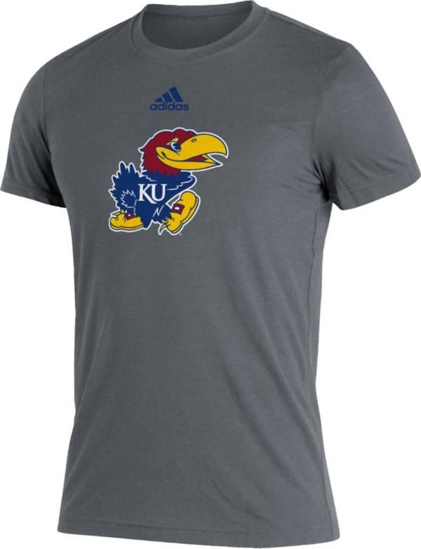 adidas Men's Kansas Jayhawks Grey Logo Blend T-Shirt product image