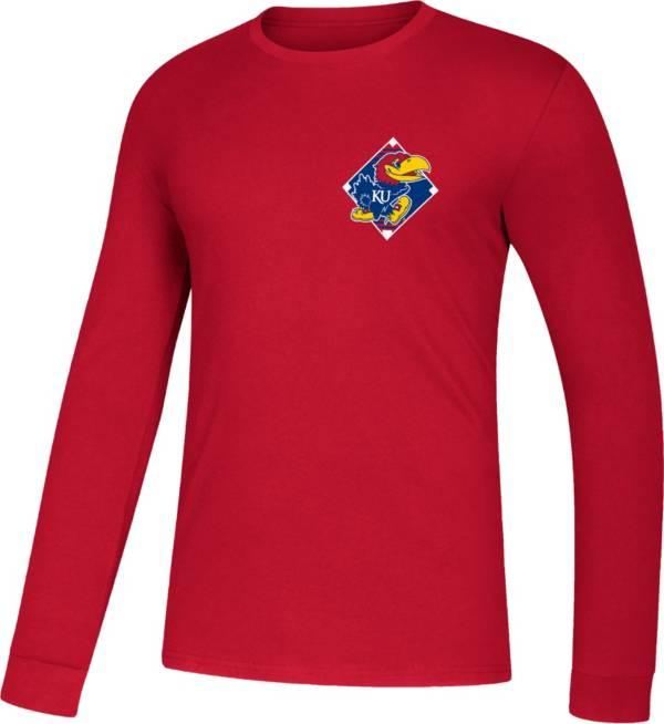 adidas Men's Kansas Jayhawks Red Diamond Days Long Sleeve T-Shirt product image