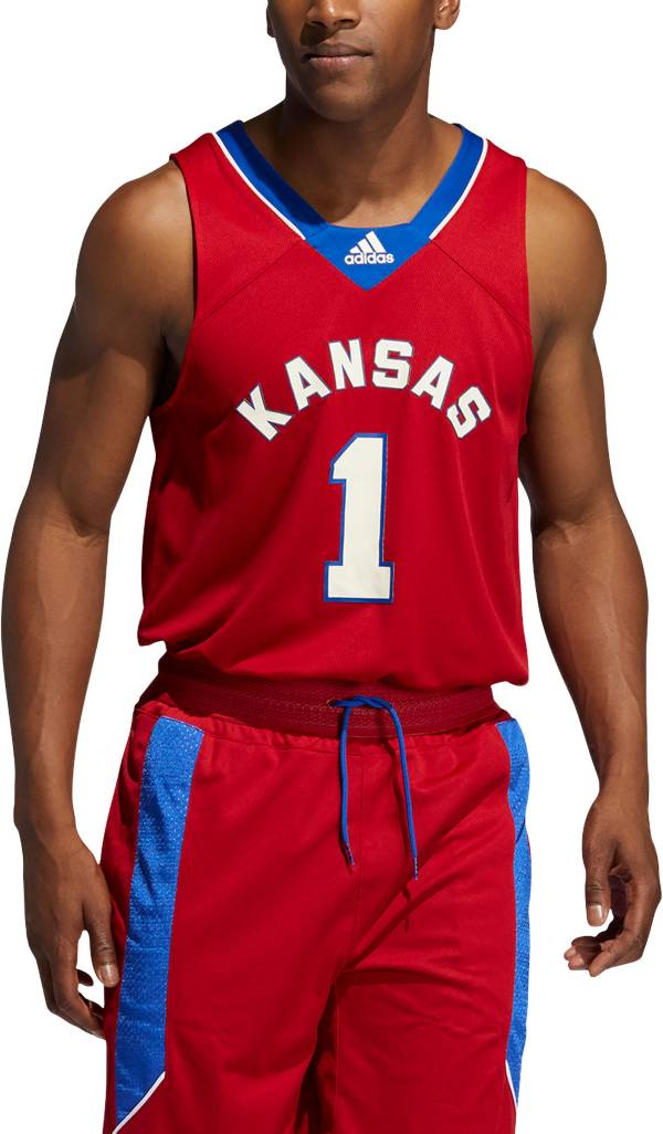 adidas Men's Kansas Jayhawks Crimson #1 Retro Replica Basketball Jersey